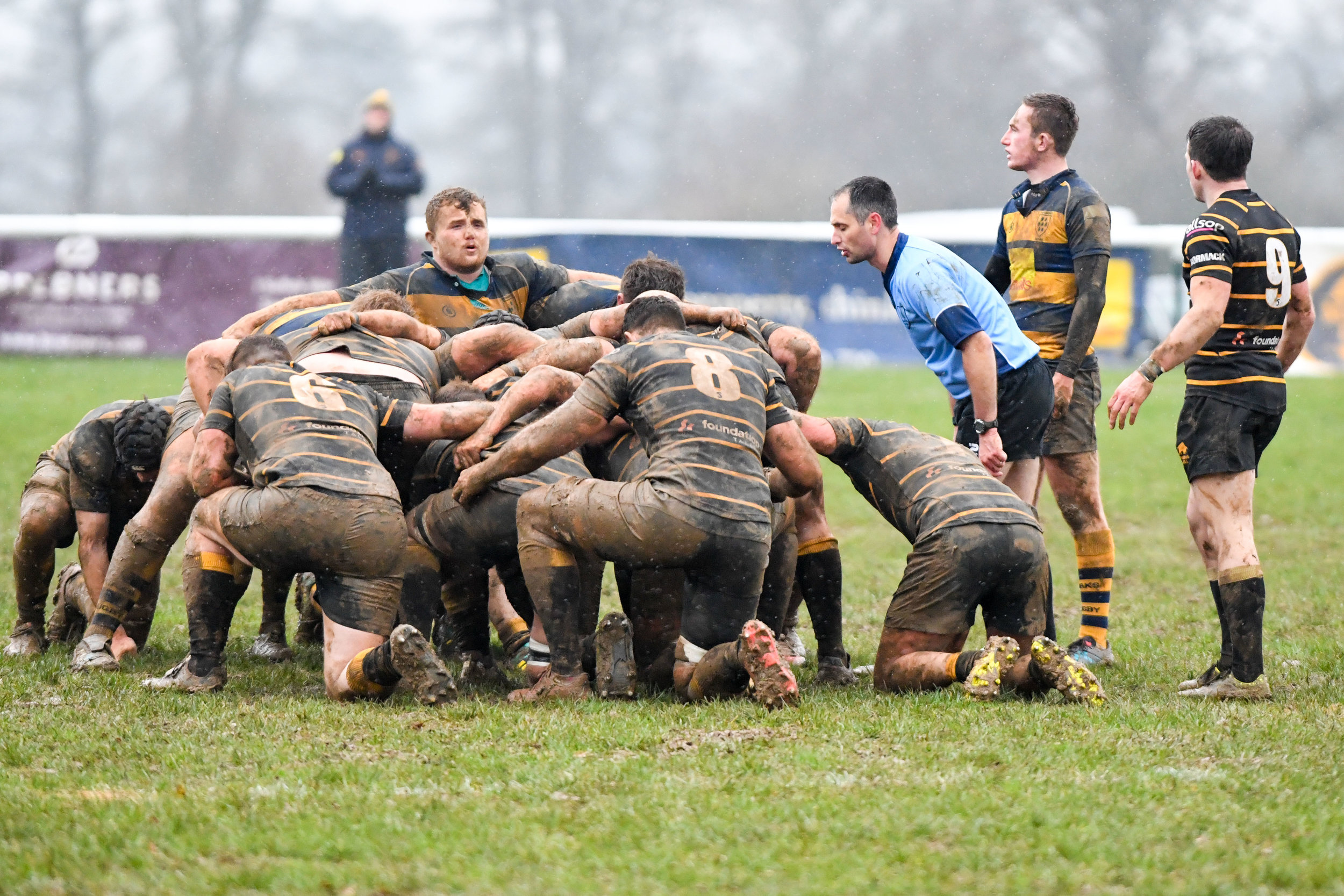 Oaks Scotty Sedgwick prepares to pack down for another scrum against London Cornish. Photo Credit: David Purday