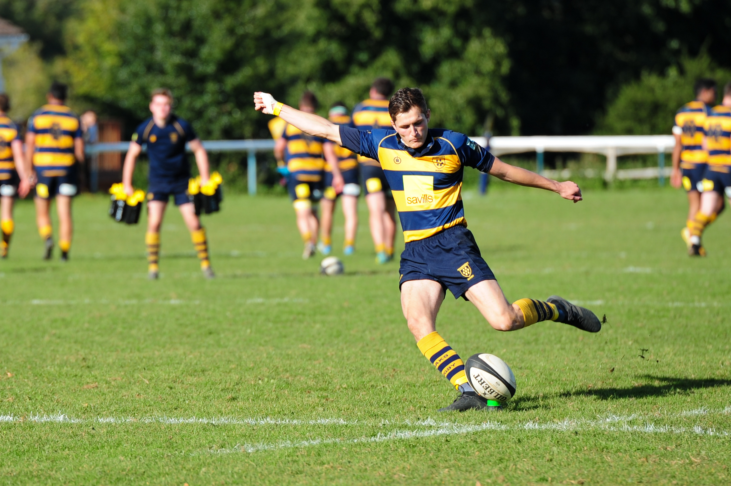 Oaks Ben Adams, pictured here earlier on in the season, kicked 17 points on Saturday and was faultless from the tee. Photo Credit: David Purday