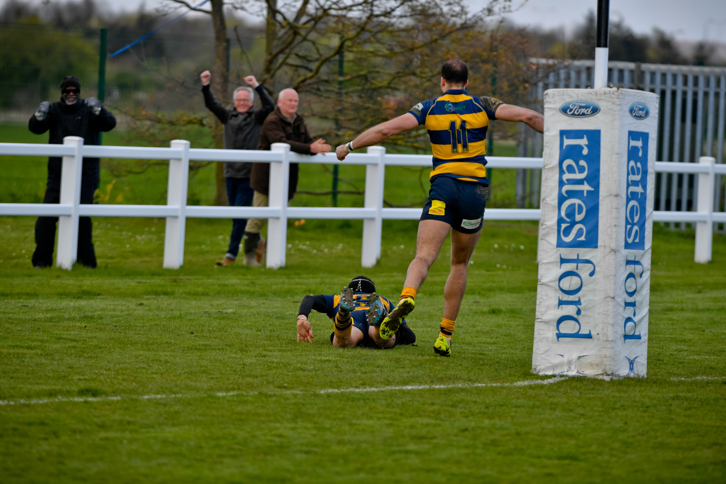 He's over! Matt Holmes goes over for his second try and Oaks third. Photo Credit: David Purday