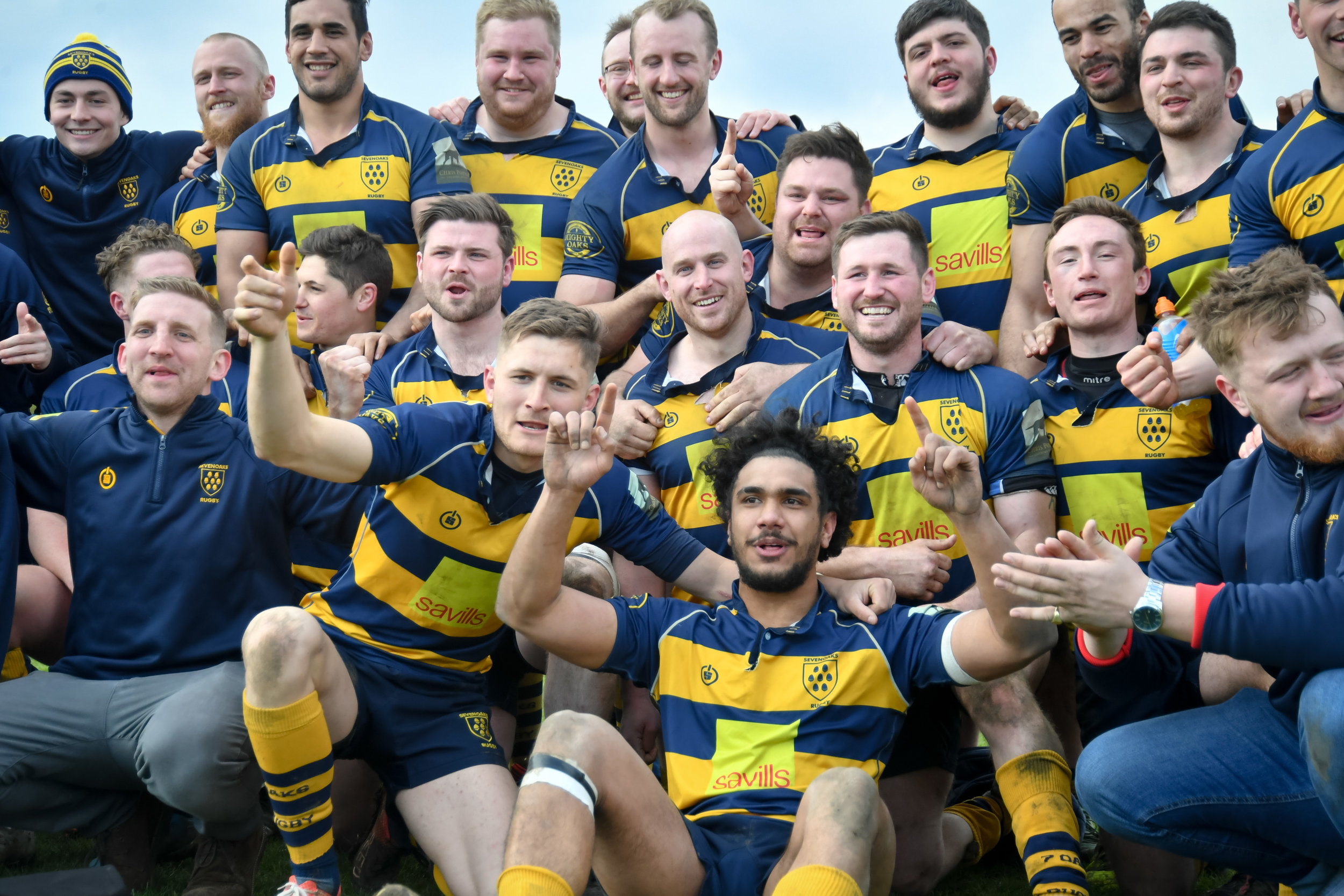 Fitting farewell! Coleman and team mates celebrate after winning London South 1 and gaining promotion. Photo Credit: David Purday
