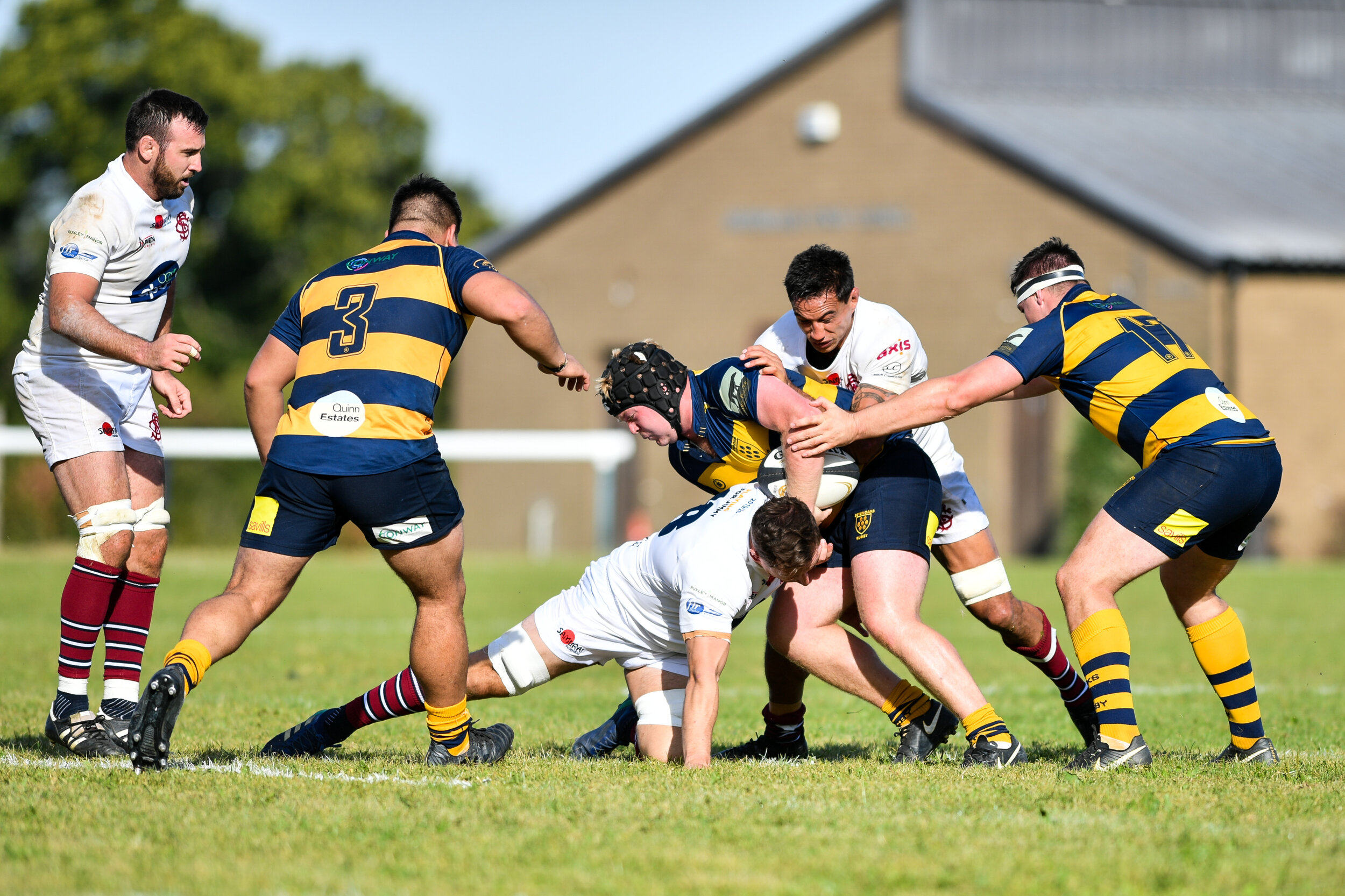 No way through. Oaks prop Alex Rolfe is stopped by two Sidcup RFC defenders. Photo credit: David Purday