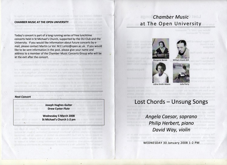 Lost Chords - Unsung Songs programme.