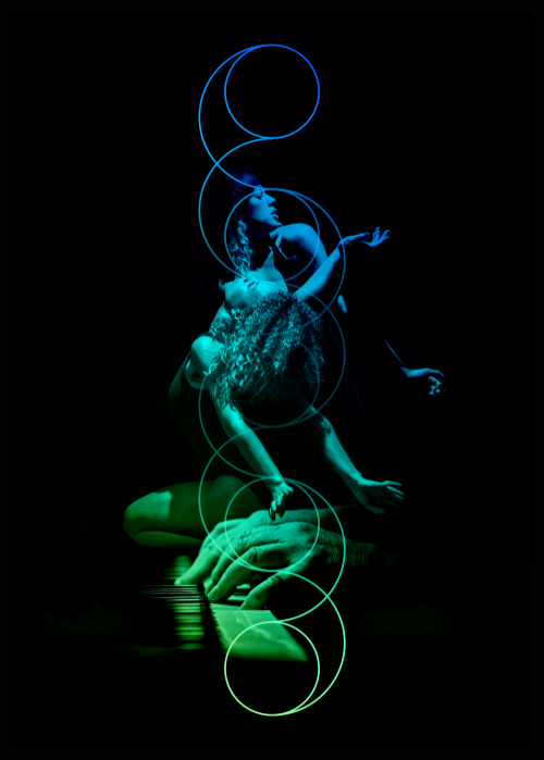 Silent Aria poster, with dancer Tara Lopez, photographed by Sean Goldthorpe, and designed by The Unloved.