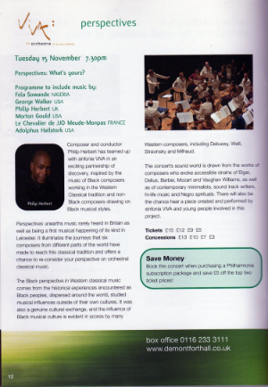 De Montfort Hall brochure page for Perspectives: What's Yours?