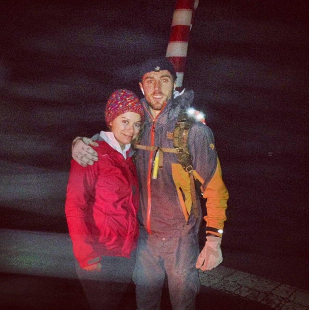 Val and Vic mile marker 30 during Vic's first Freedom Ruck in 2014.