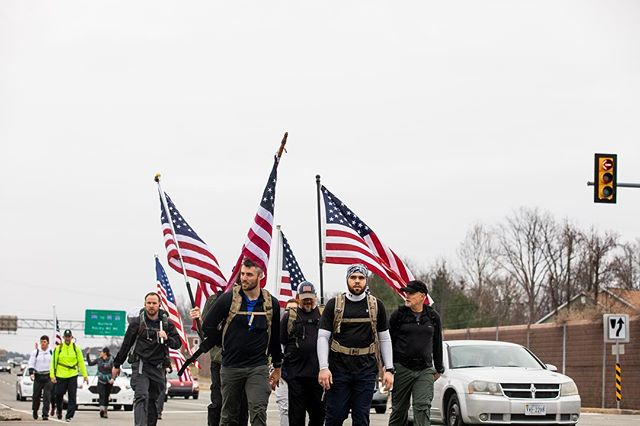 The team making a strong start today, flags flying high! We've pushed through Ashland and Hanover. Dinner soon... 🇺🇸🍔🇺🇸 #freedomruck2019 #freedomruck #ruckon 📸: @katemagee
