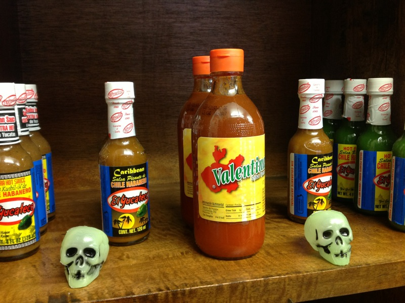 Chili sauces for sale at Mexican Burrito Cantina