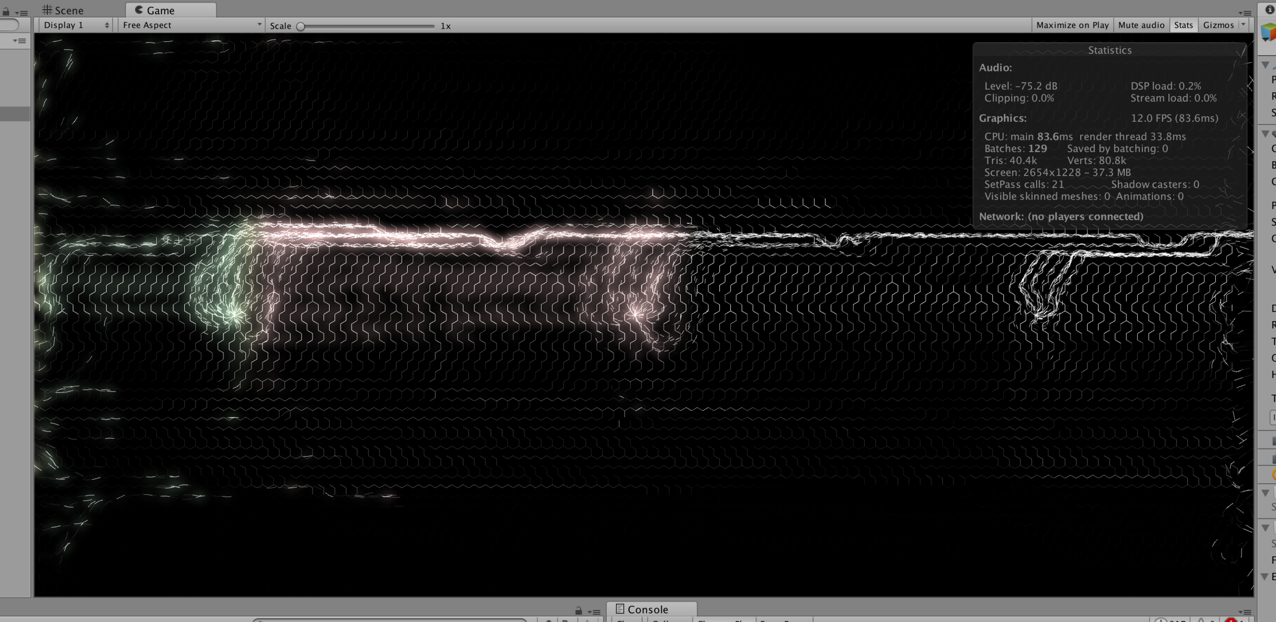 A screenshot of the Unity application running on my laptop. Note the particles and the underlying hexagonal force field, which was progressively revealed as the piece evolved, evoking the idea of the memory of the sounds that had travelled through the installation.