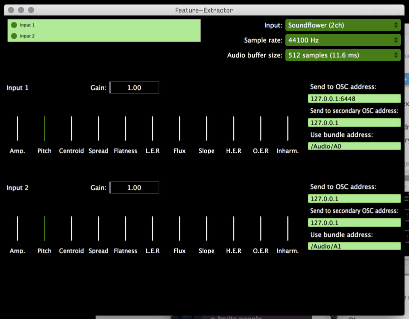 A sreenshot of the audio feature extractor, written by  Sean Soraghan  using the JUCE framework, which analysed the audio input in real time from each of the microphones and sent it via OSC to each of the neural networks.