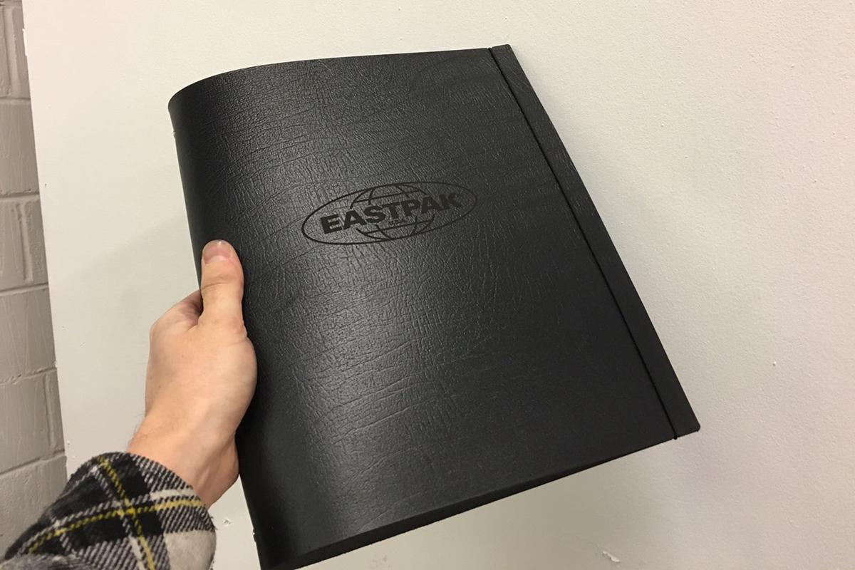 eastpak logo engraved leather A4 portrait ringbinder portfolio folder