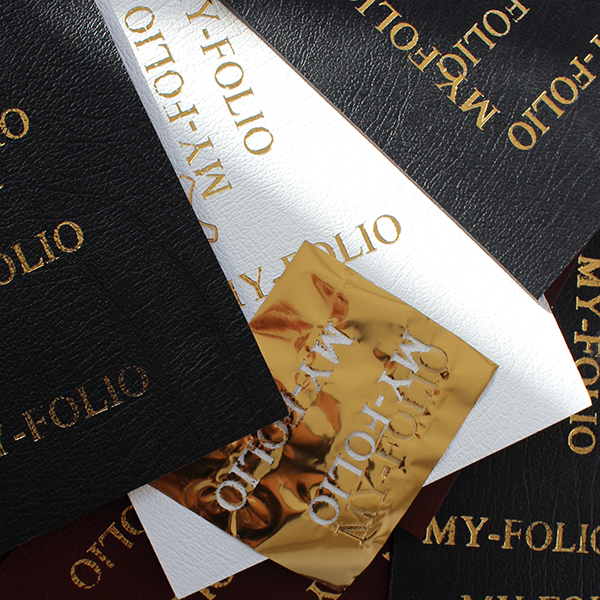 silver and gold foil embossing of your name or logo on leather portfolios