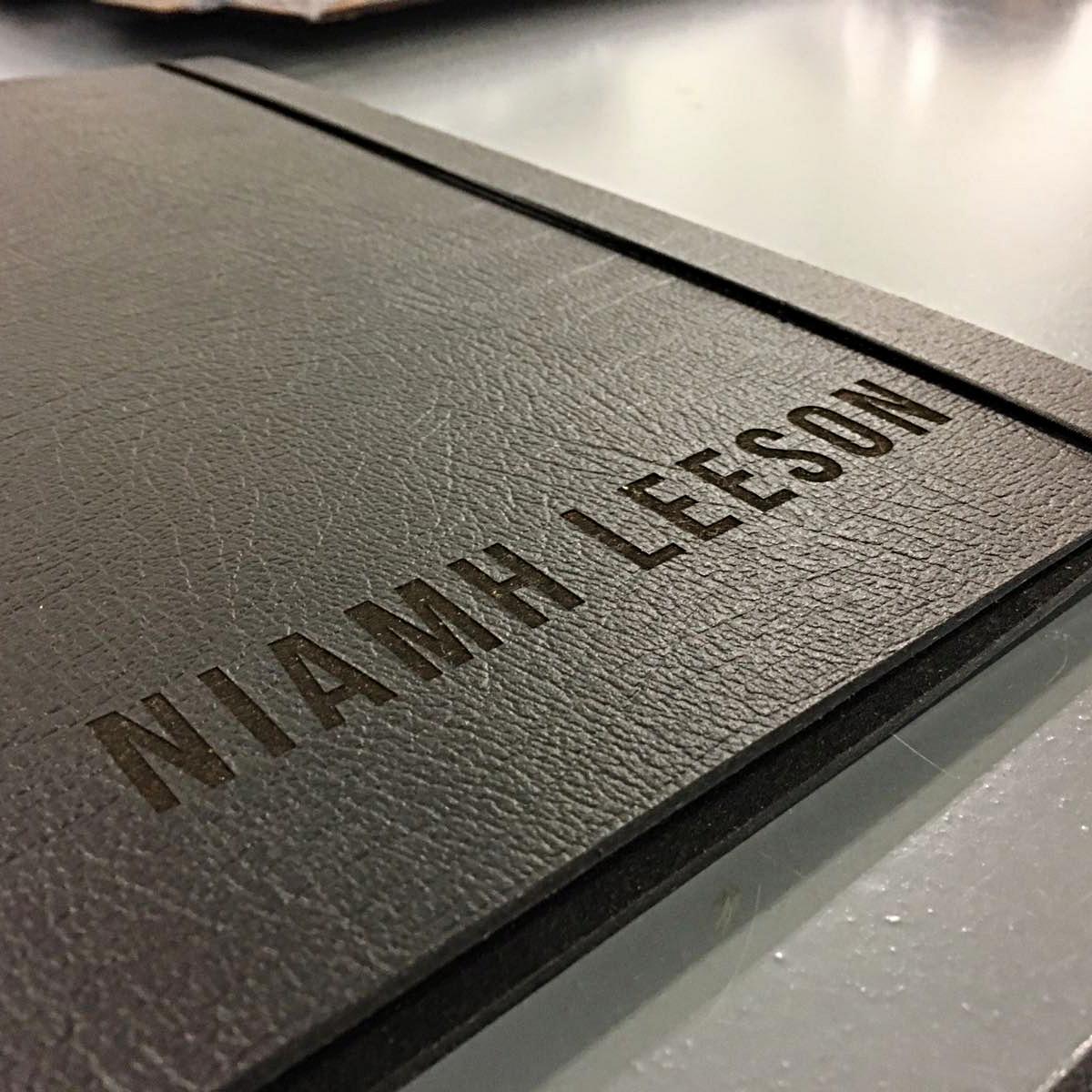 name engraved black leather A3 landscape portfolio