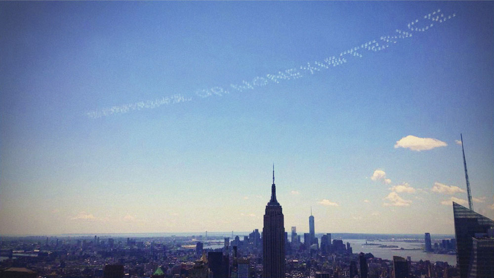 Skywriting over New York City, Memorial Day weekend, 2014