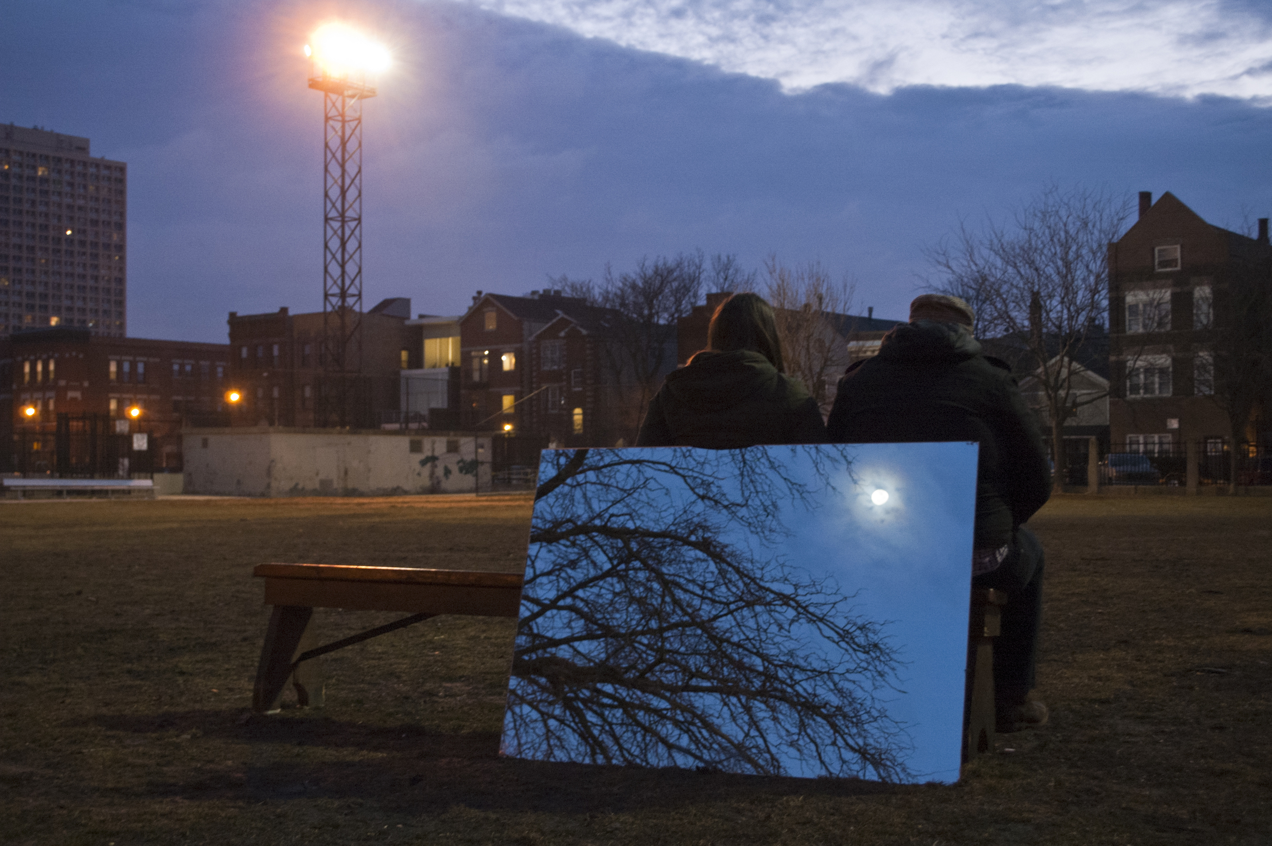 Acts upon us, reprise 2:46 hr, mirror, wooden bench, 2012. installation view: 24th Festival of Art in Alternative & Itinerant Spaces, Chicago IL Photography by Josh Korby  more info:  Acts upon us