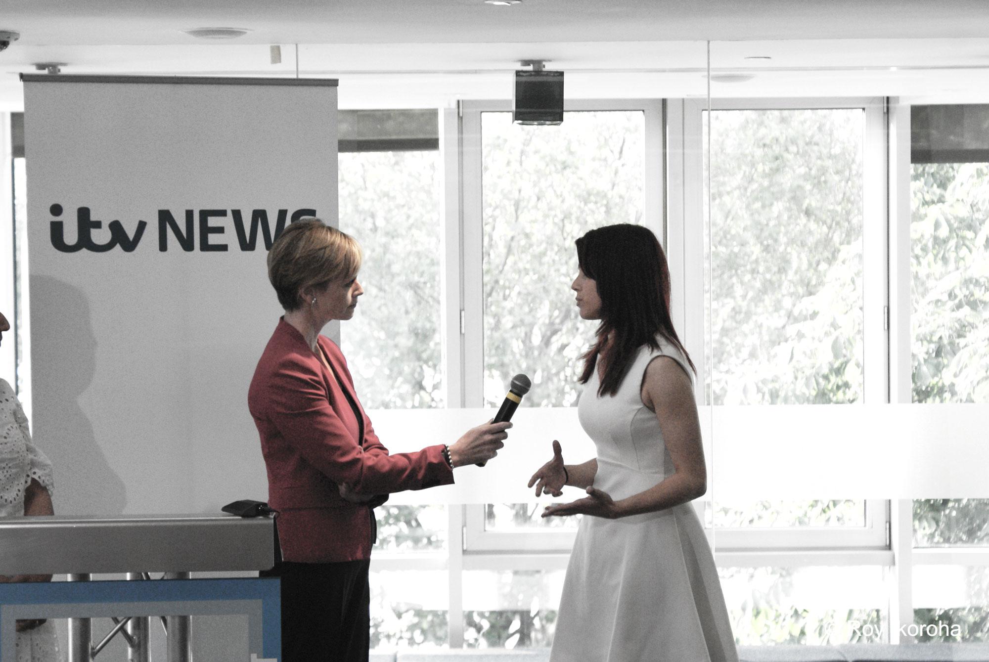 ITV News presenter Julie Etchingham talks with  Breaking Into News  winner Sally Wynter   © Roy Ikoroha