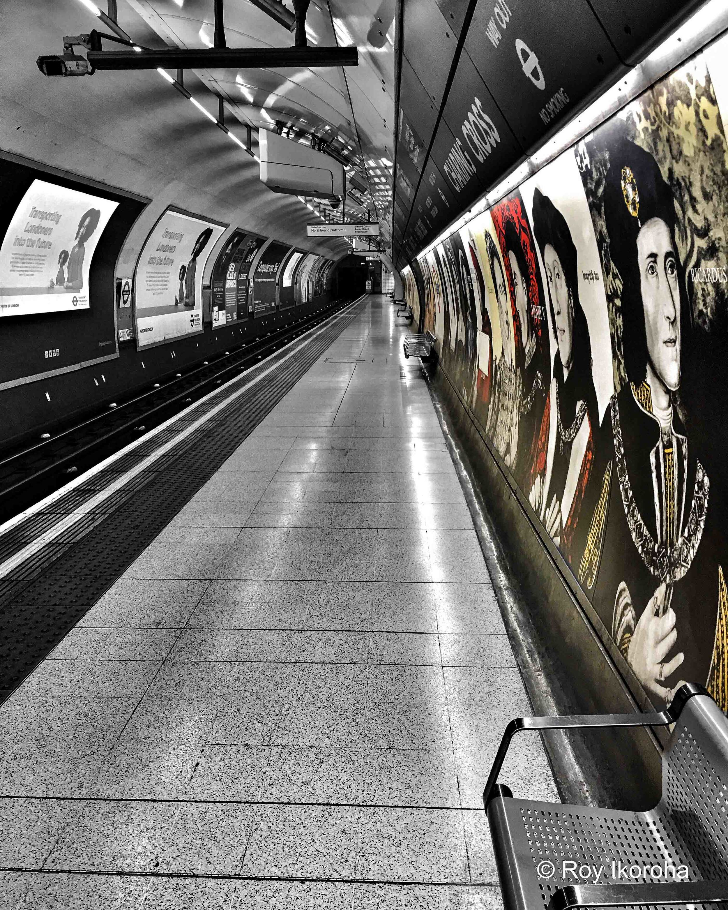 Along the platform at Charing Cross tube station, London