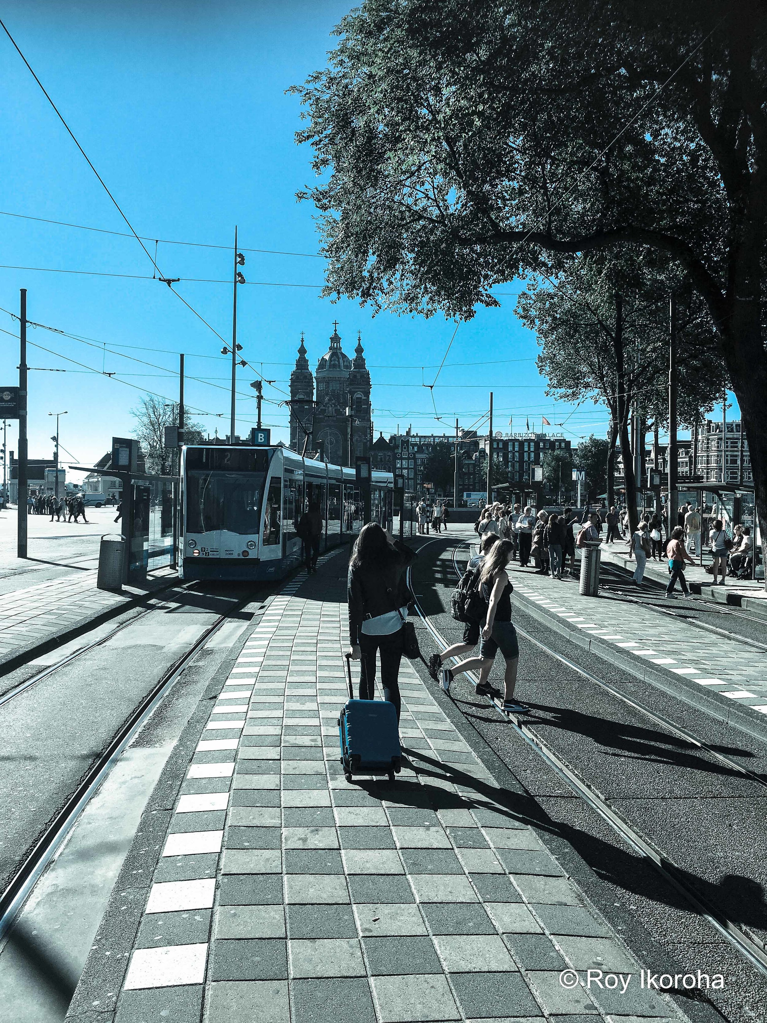 Arriving in Amsterdam's Centraal Station. Heading for the tram south. Netherlands
