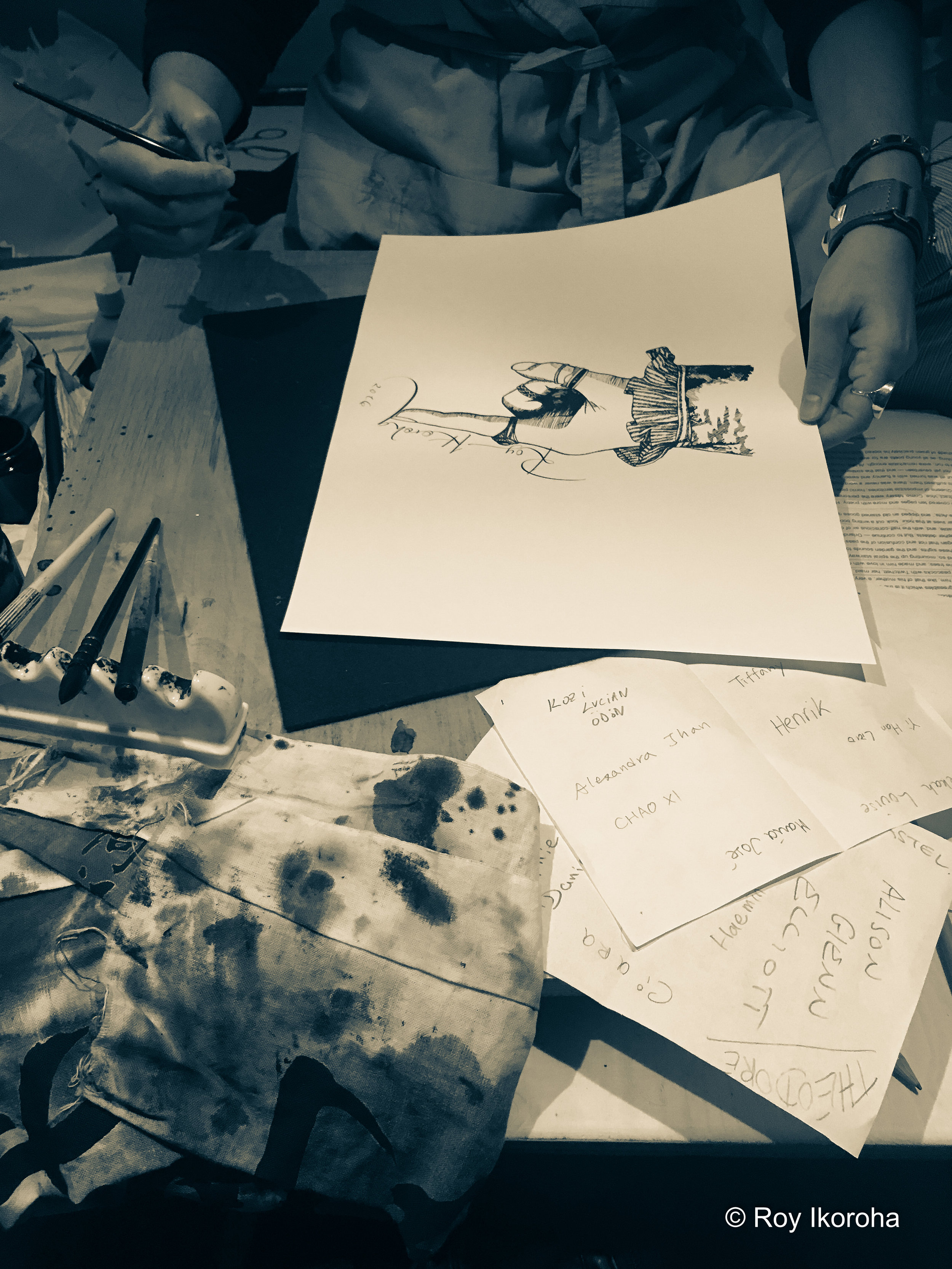 Calligrapher Rosalind Wyatt working on some artwork for me | Burberry Makers House, Manette Street, London