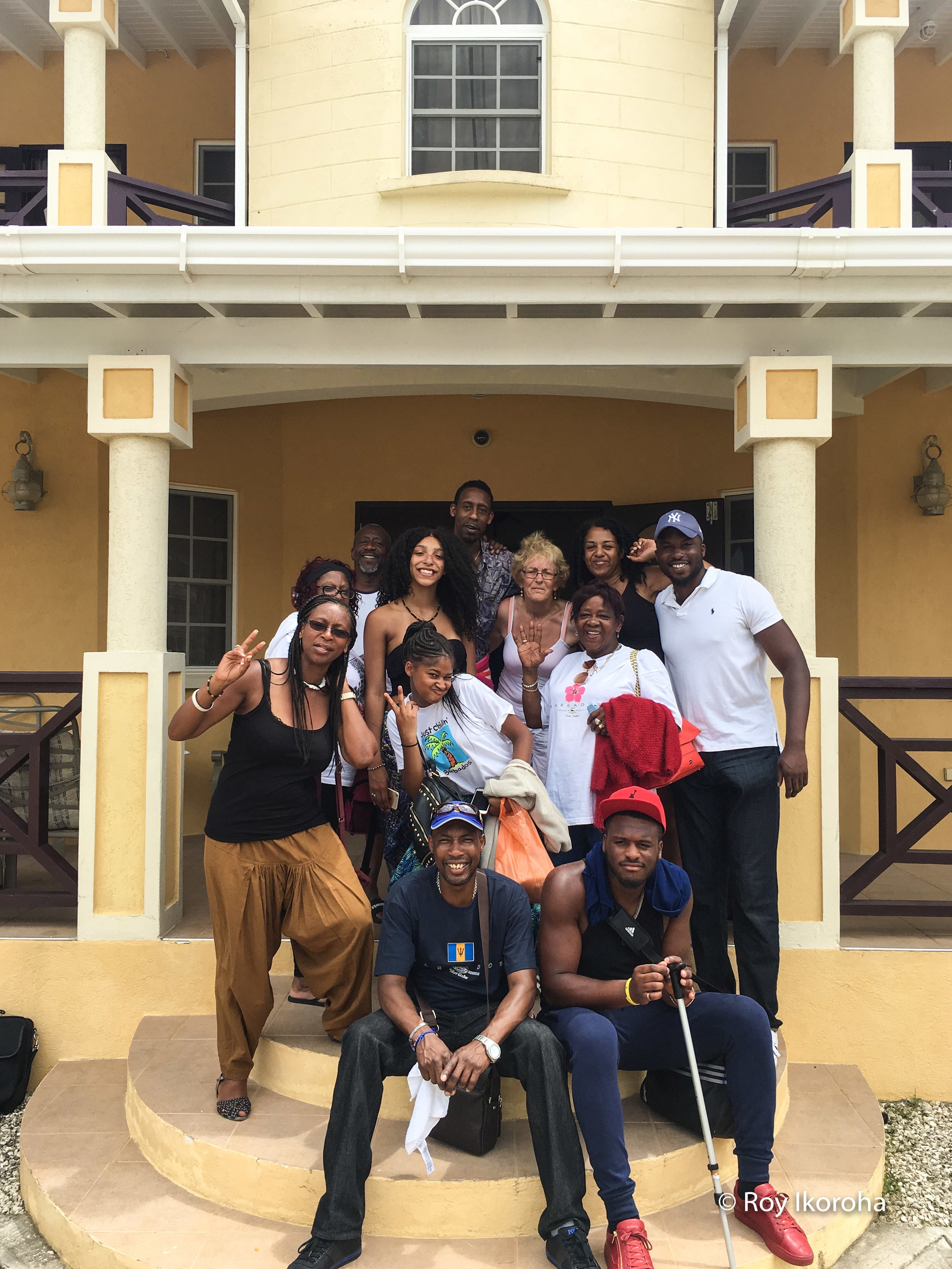 The family outside our villa, Barbados