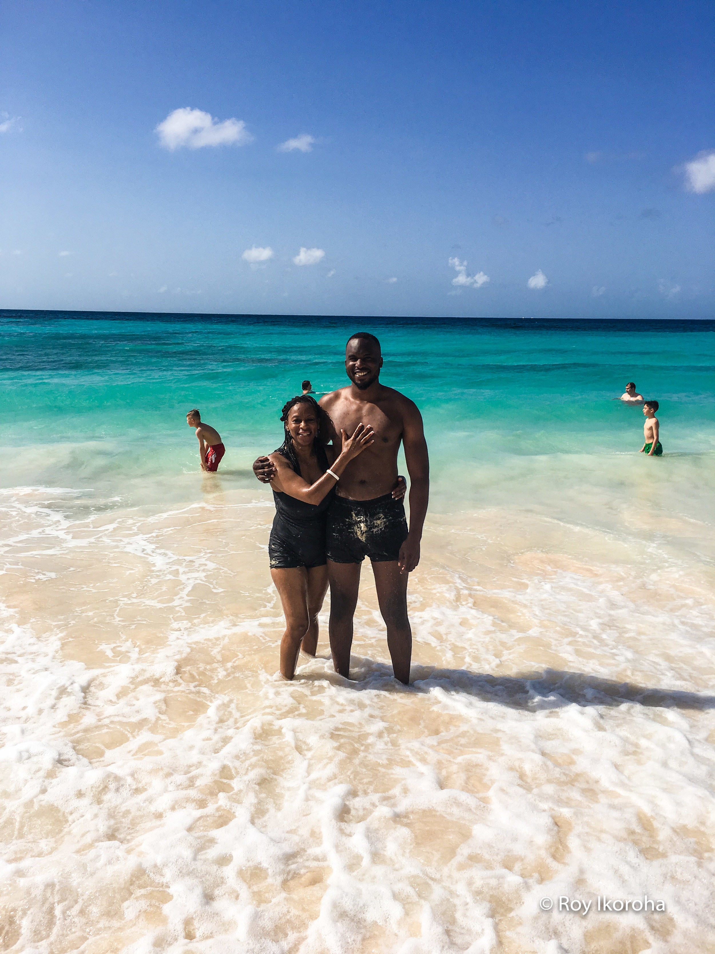 With my mother on Butterfly Beach, Barbados