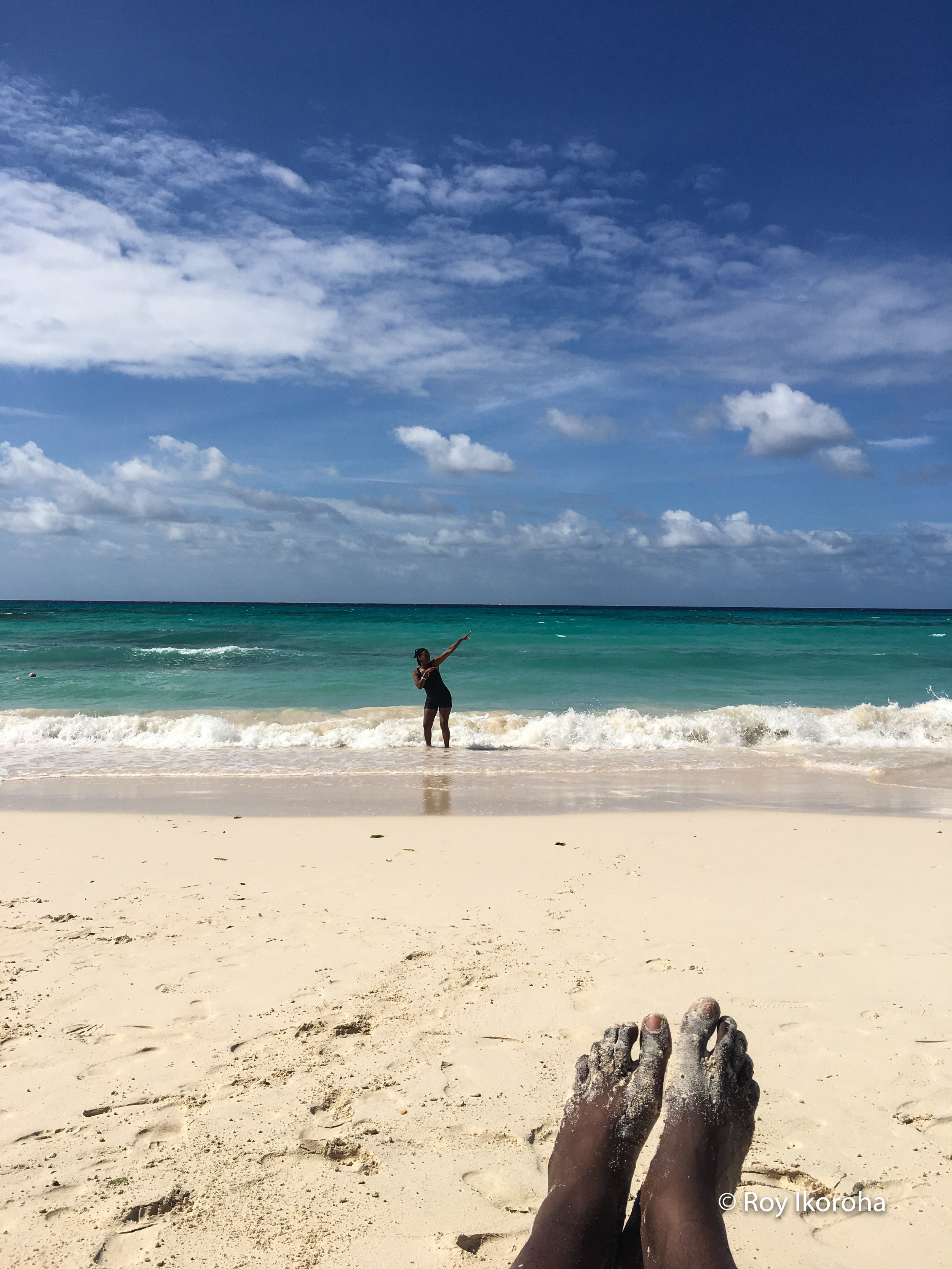 Mother poses whilst I chill, Butterfly Beach, Barbados