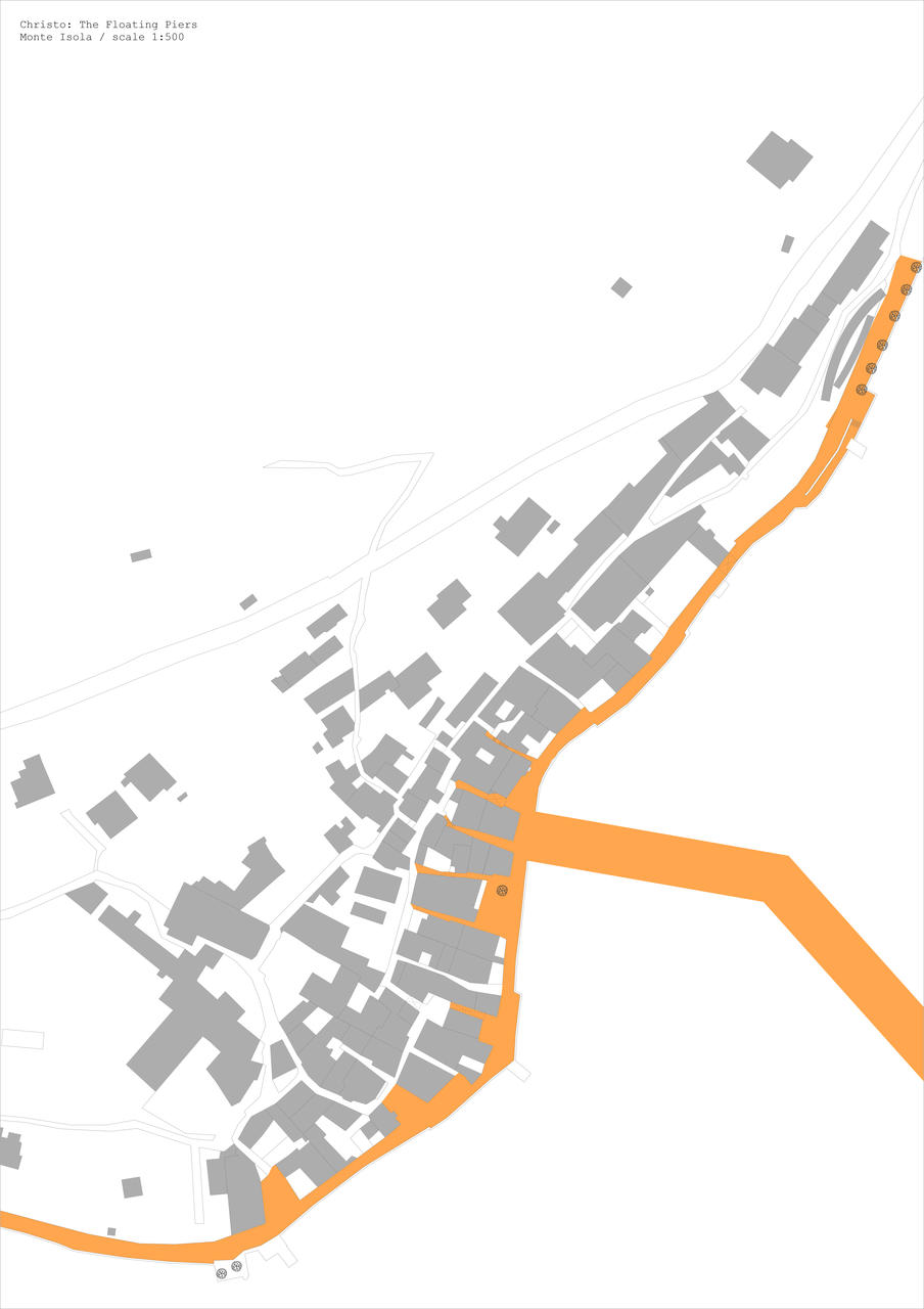 Map indicating fabric on pedestrian streets on Monte Isola