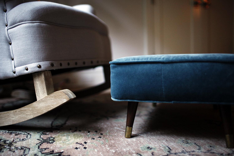 Close Up of Chair and Ottoman   Photograph: Belathée Photography   Design by: Lauren L Caron © 2016