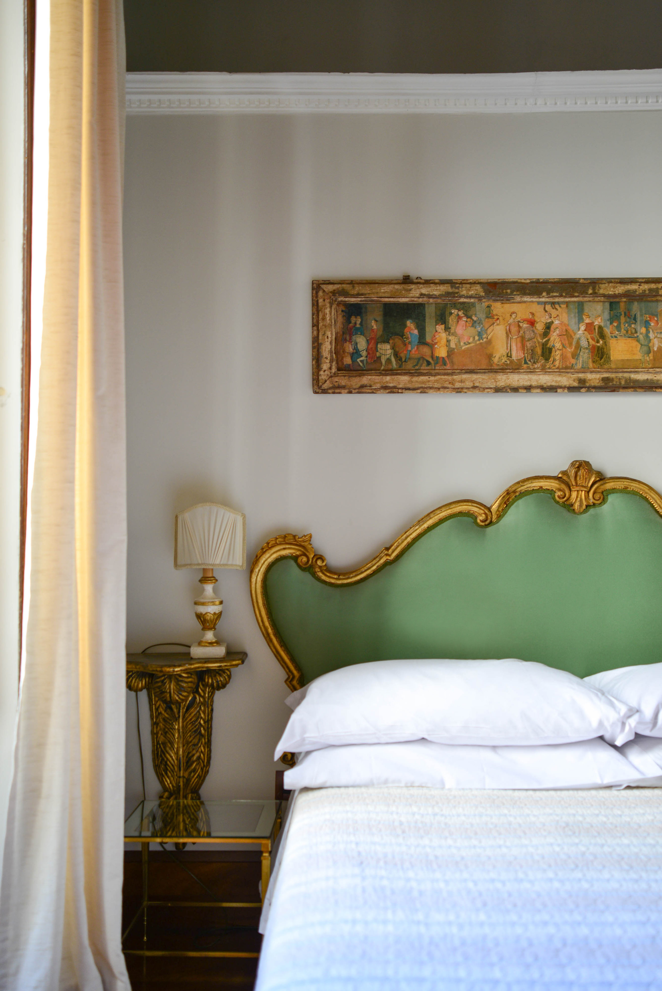 Vignette of the bed the studio in Rione Regola | Lauren Caron © A Layered Life 2017