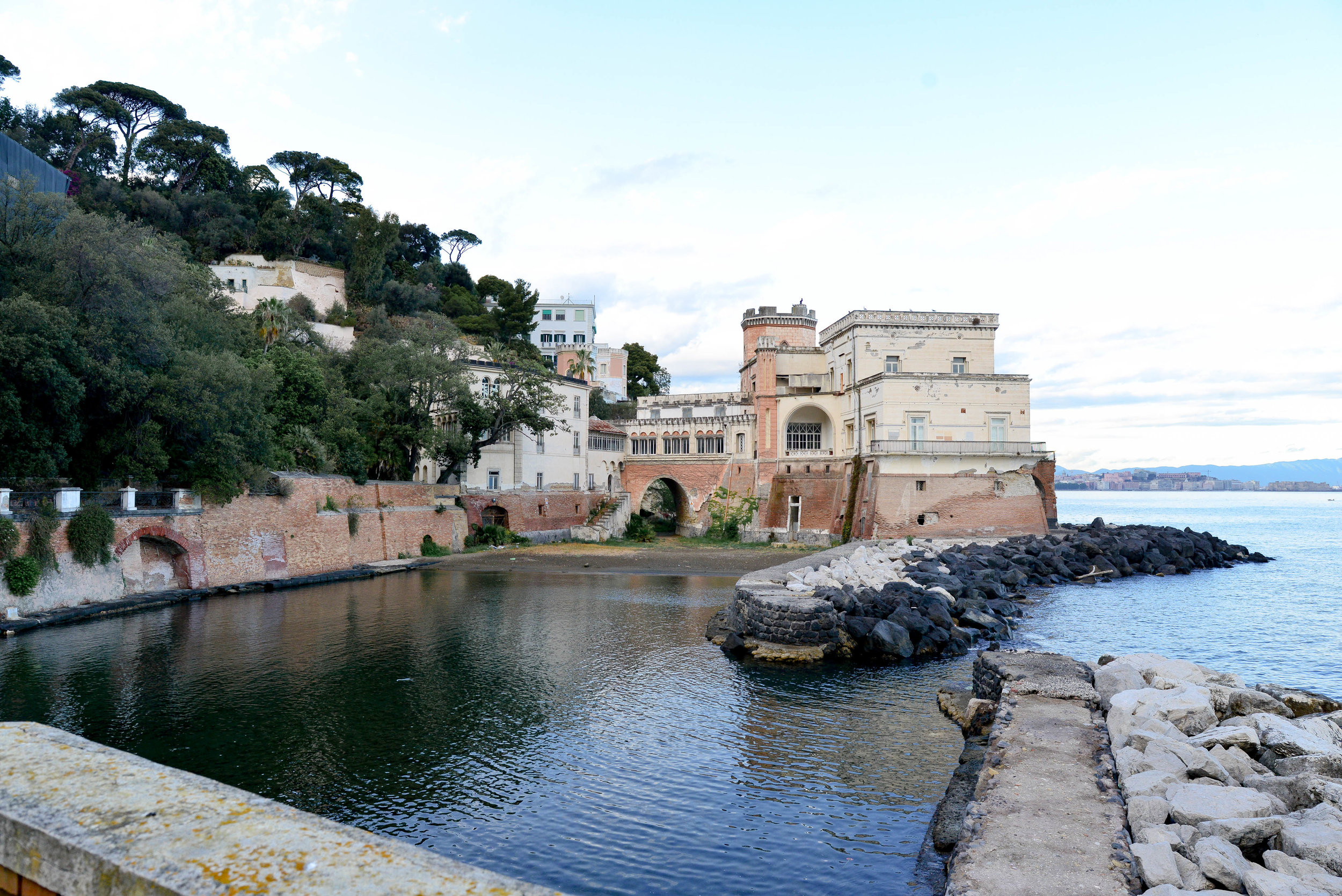 View from the Jetty looking up at the villa and guardian tower | Posillipo, Italy | Lauren L Caron © 2018