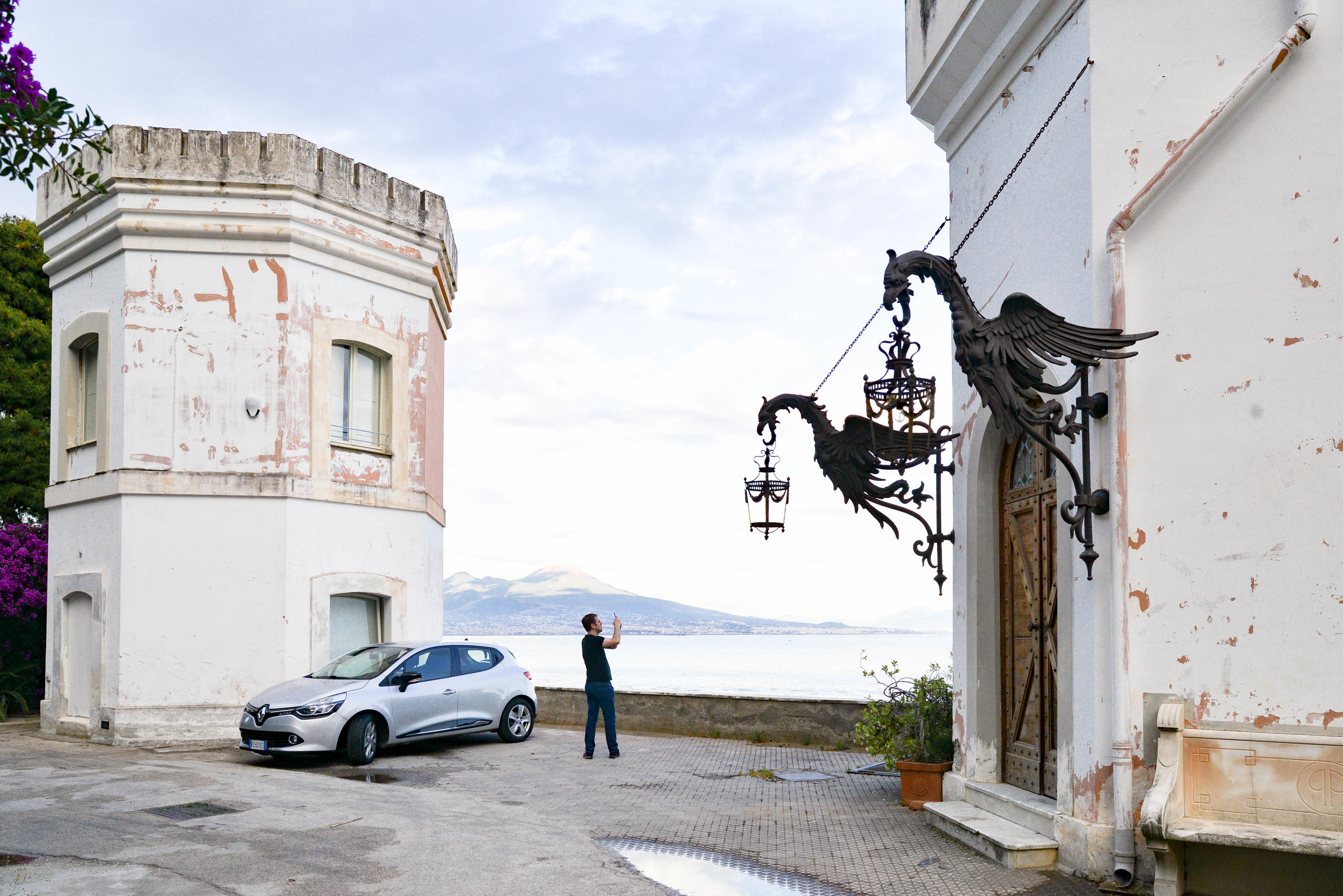 Guardian Tower left, Entry staircase right, Jack taking a picture of the view | Posillipo, Italy | Lauren L Caron © 2018