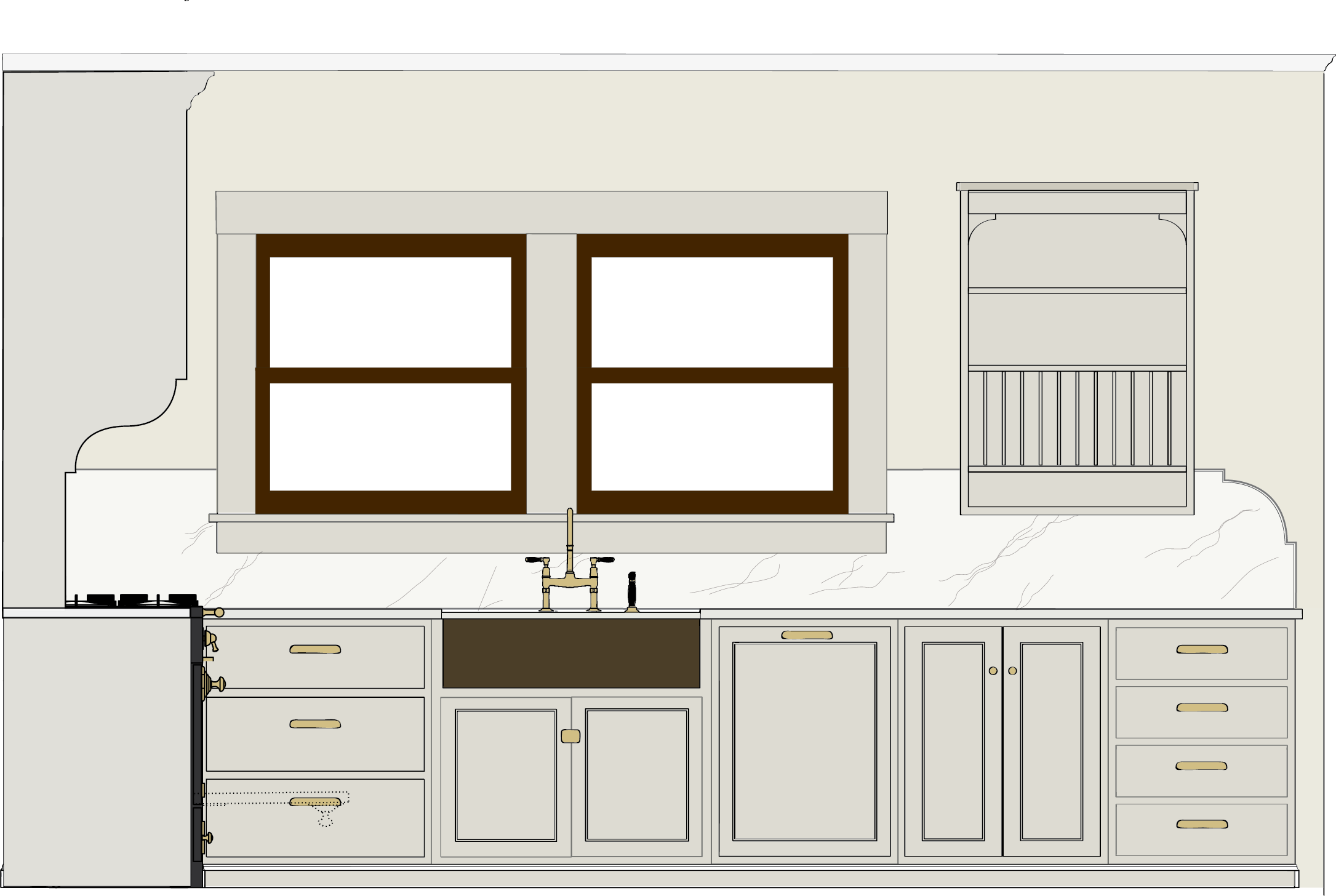 Elevation Drawing of Sink Wall