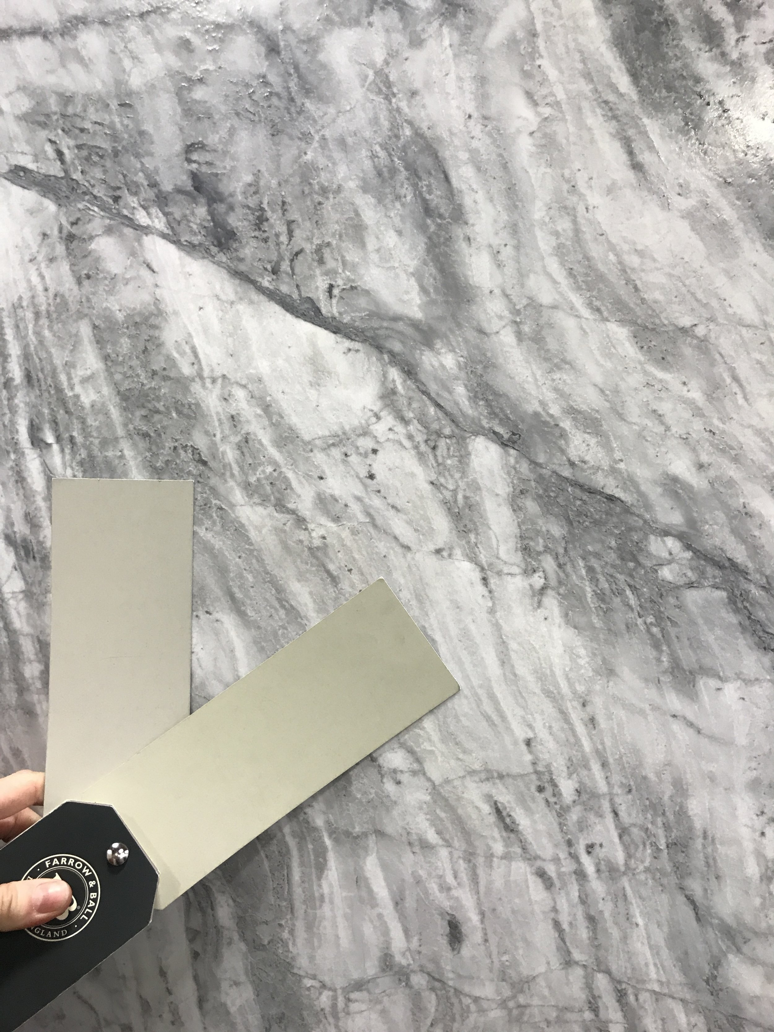 Super White Dolomite paired with French Gray