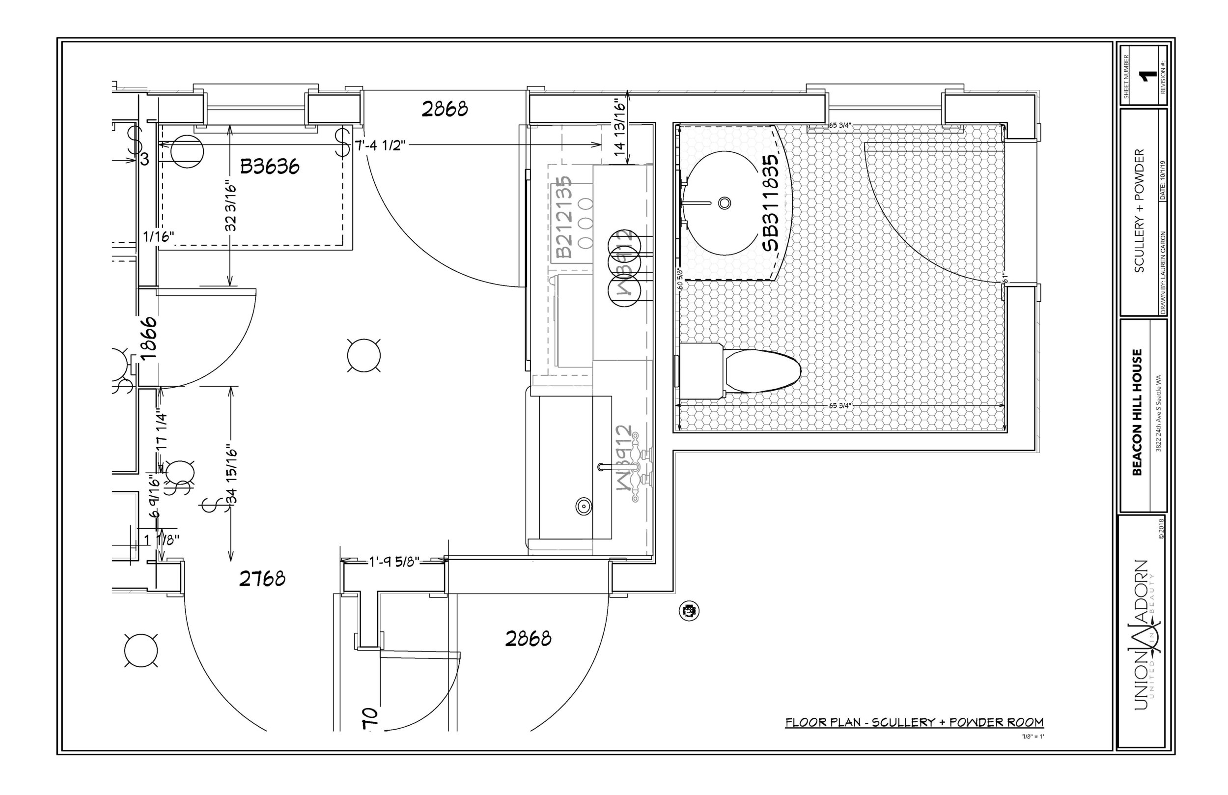 Proposed Floor plan of Scullery + Powder Room