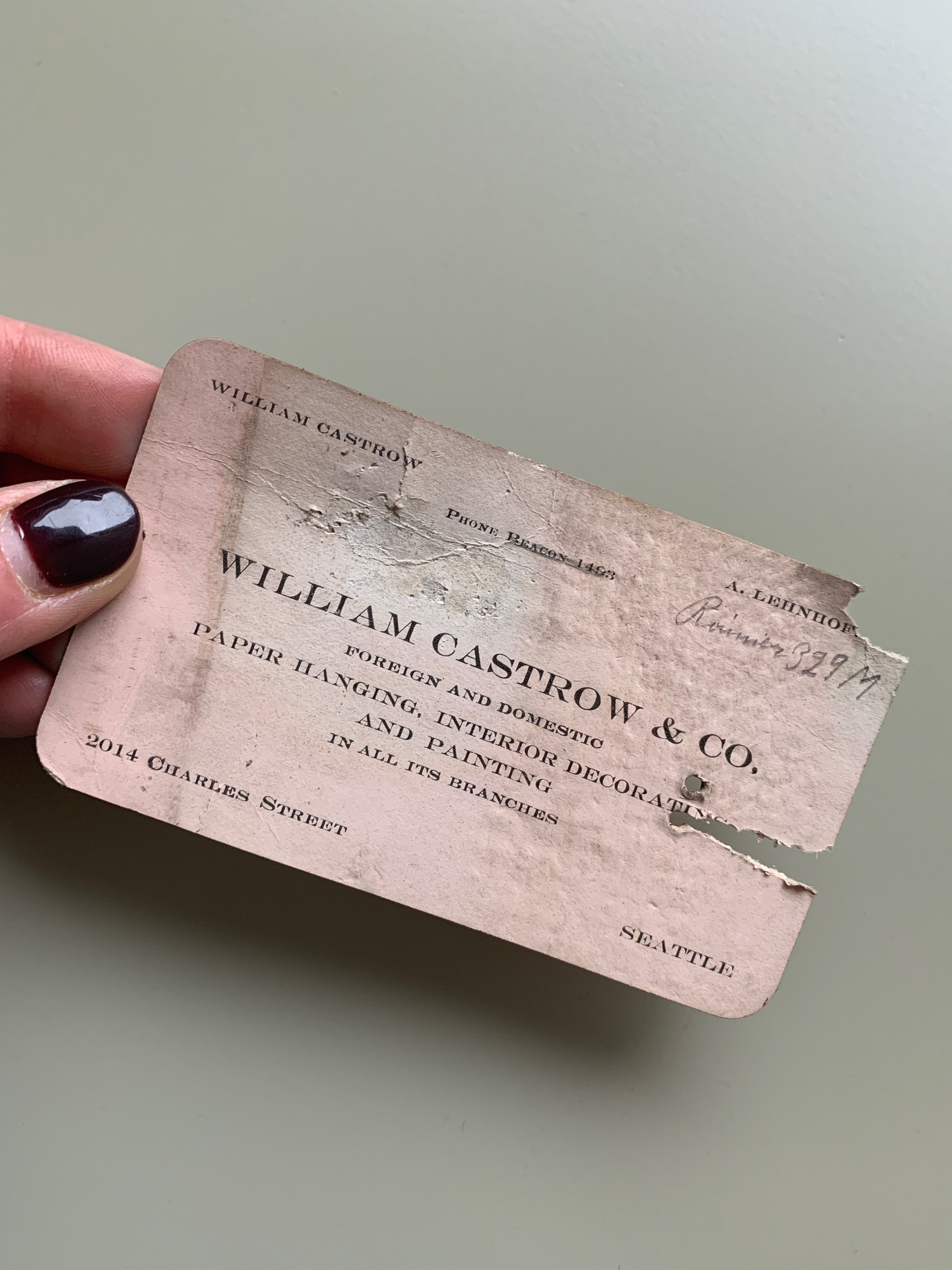 The business card we found within the walls | Photograph by Lauren Caron 2019 ©