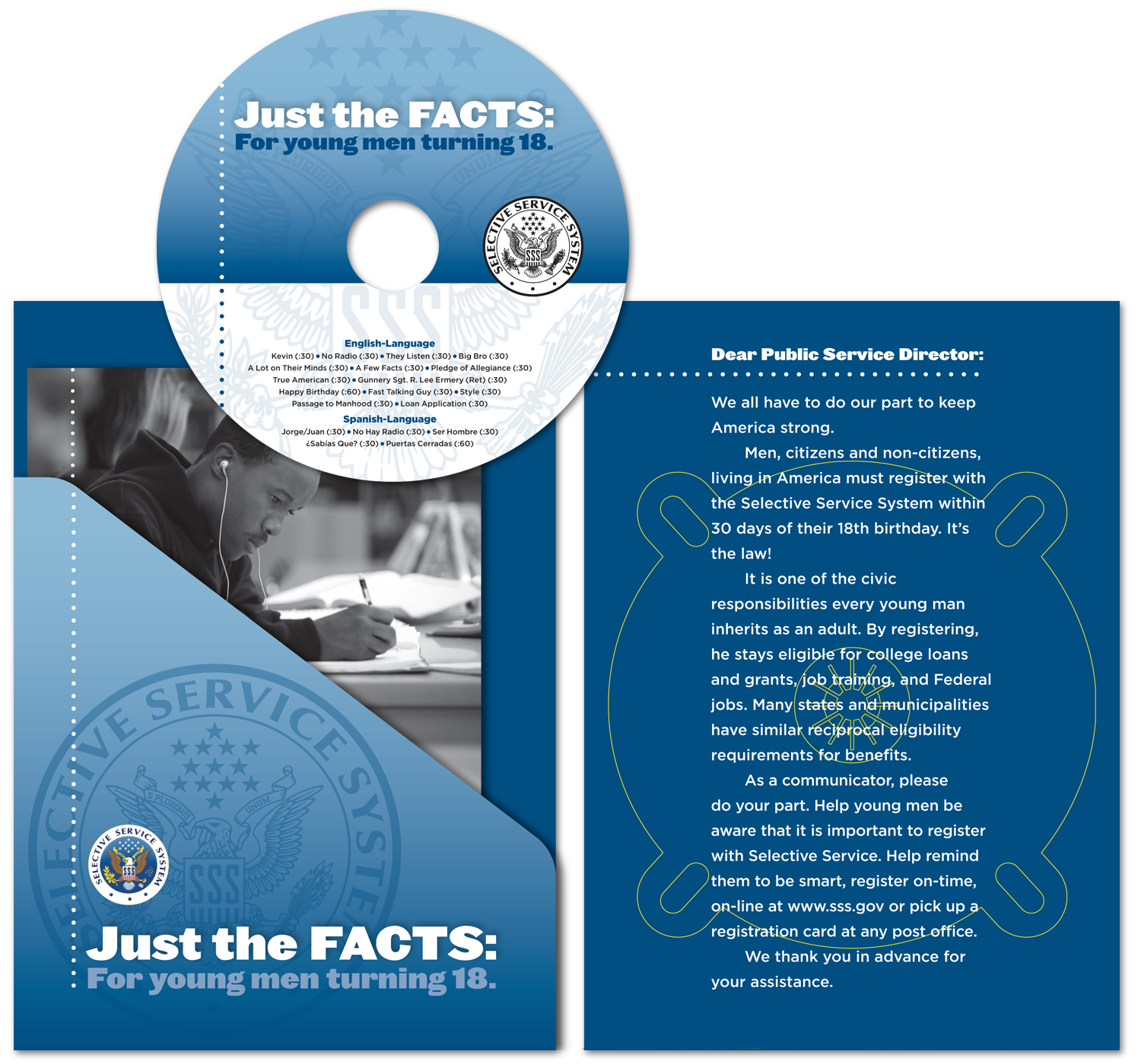 Disc face (top), DVD package inside left showing pocket and cover of scripts booklet, and inside right of DVD package.