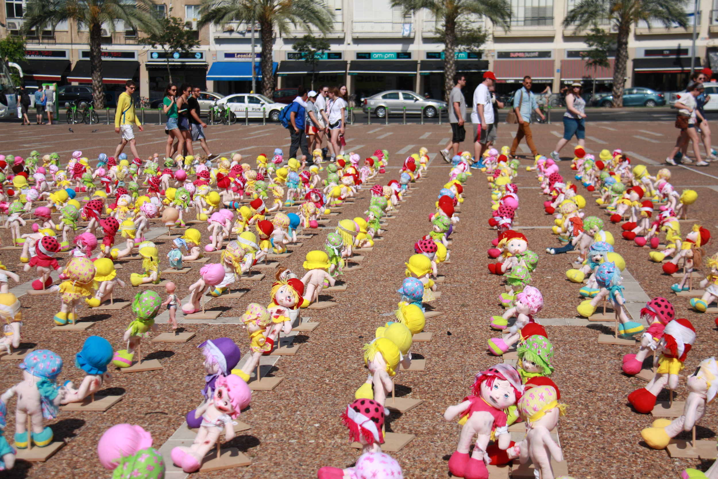Conceptual art display in the center of Tel Aviv to increase awareness of child abuse.