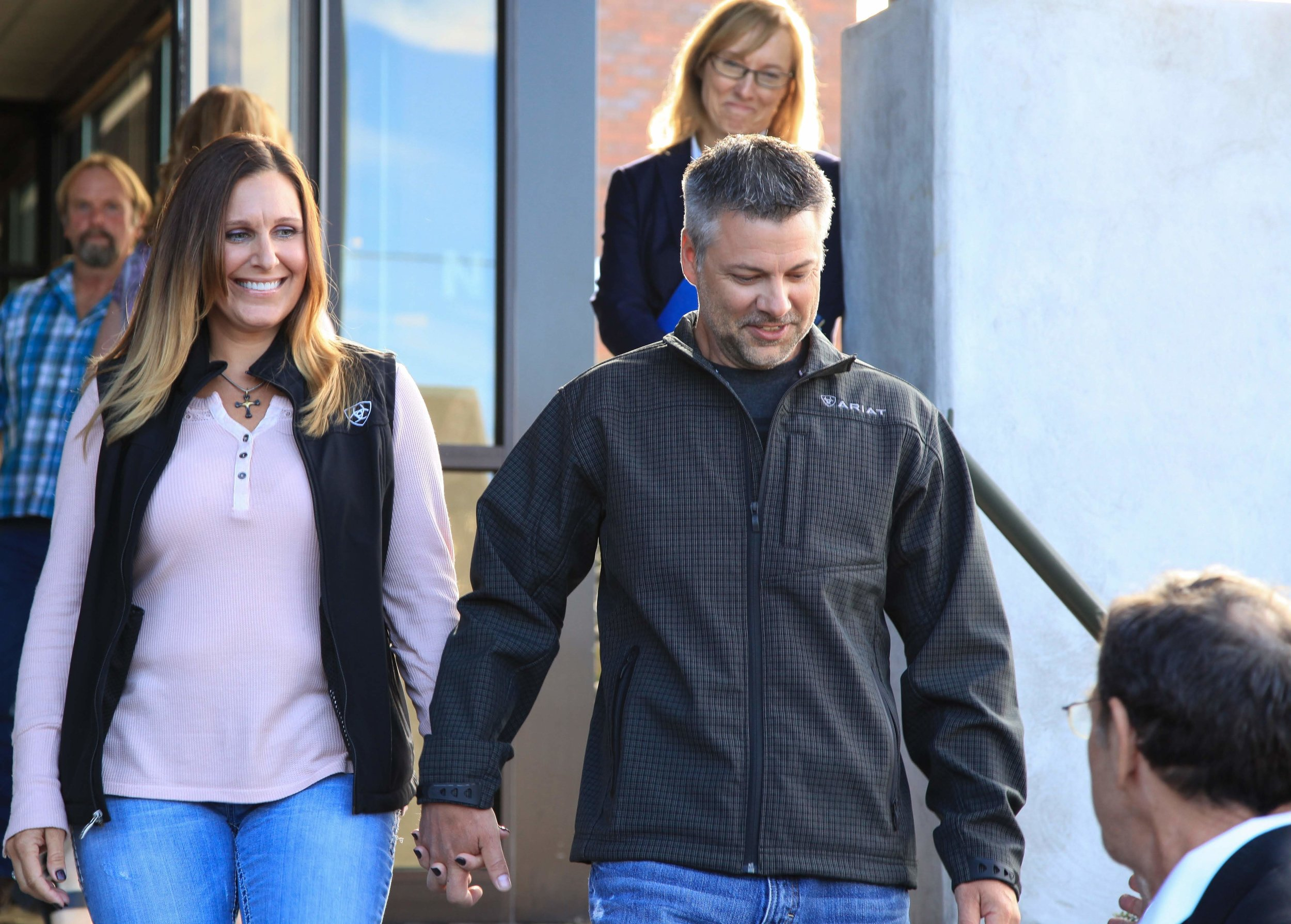 Kelli and Josh Horner leaving court. Photo by Jenny Coleman.