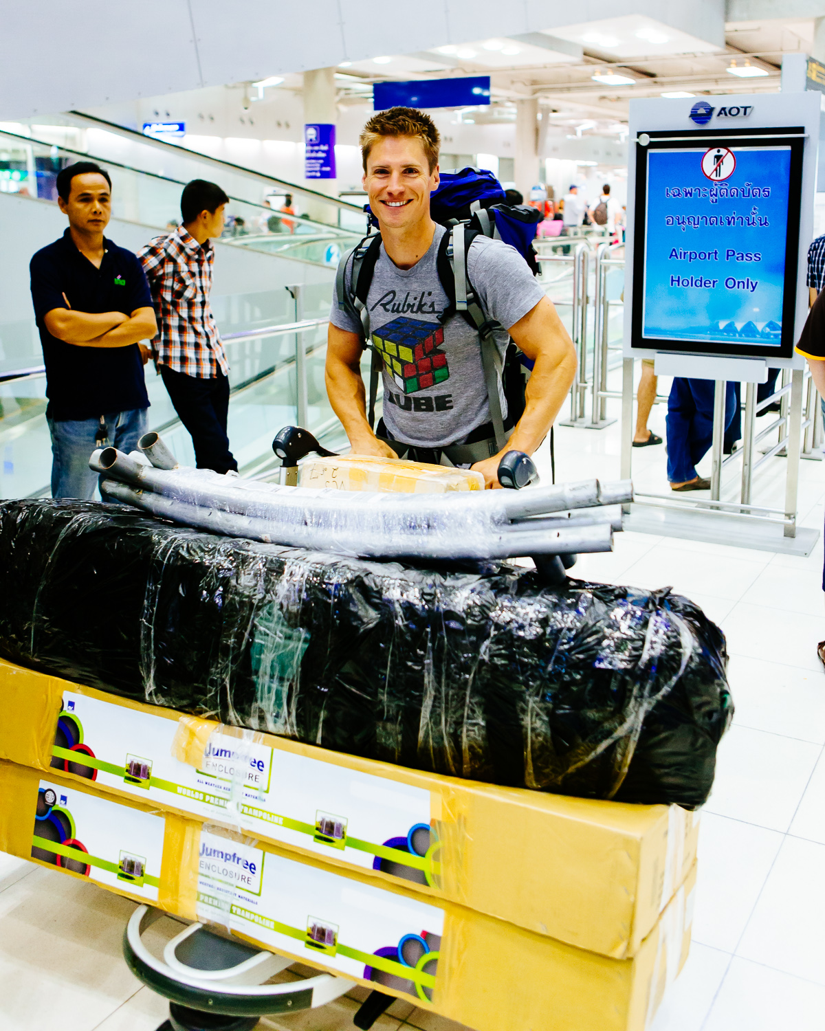 A happy Travis Johnson arriving in Bangkok having cleared customs with a new trampoline, which was donated to the CPDC.