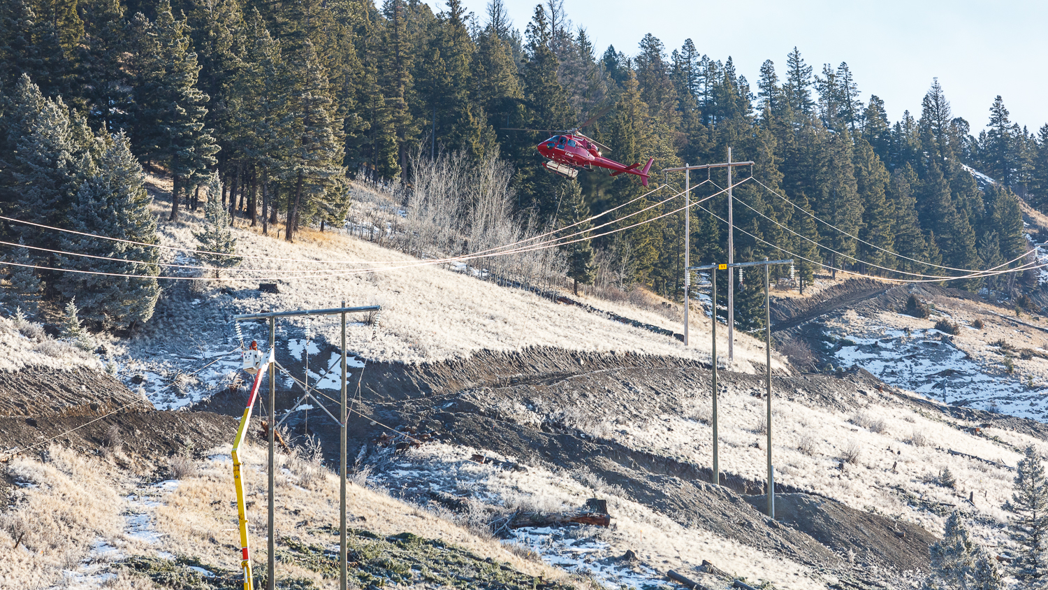 Some sections proved more difficult, as the helicopter had to get very close to the live power lines. Weather conditions were perfect.