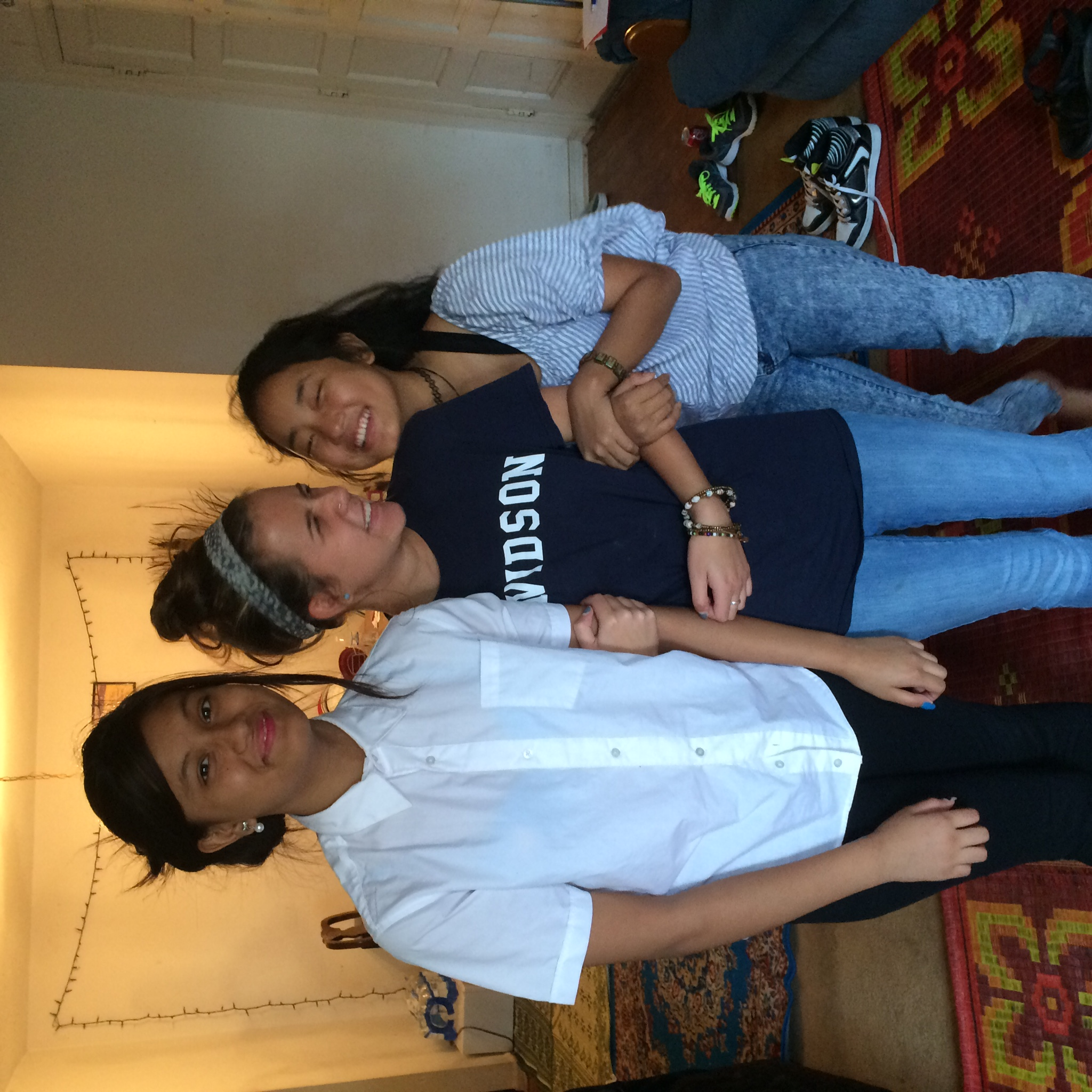 Bianca with two eighth grade girls from Nepal.