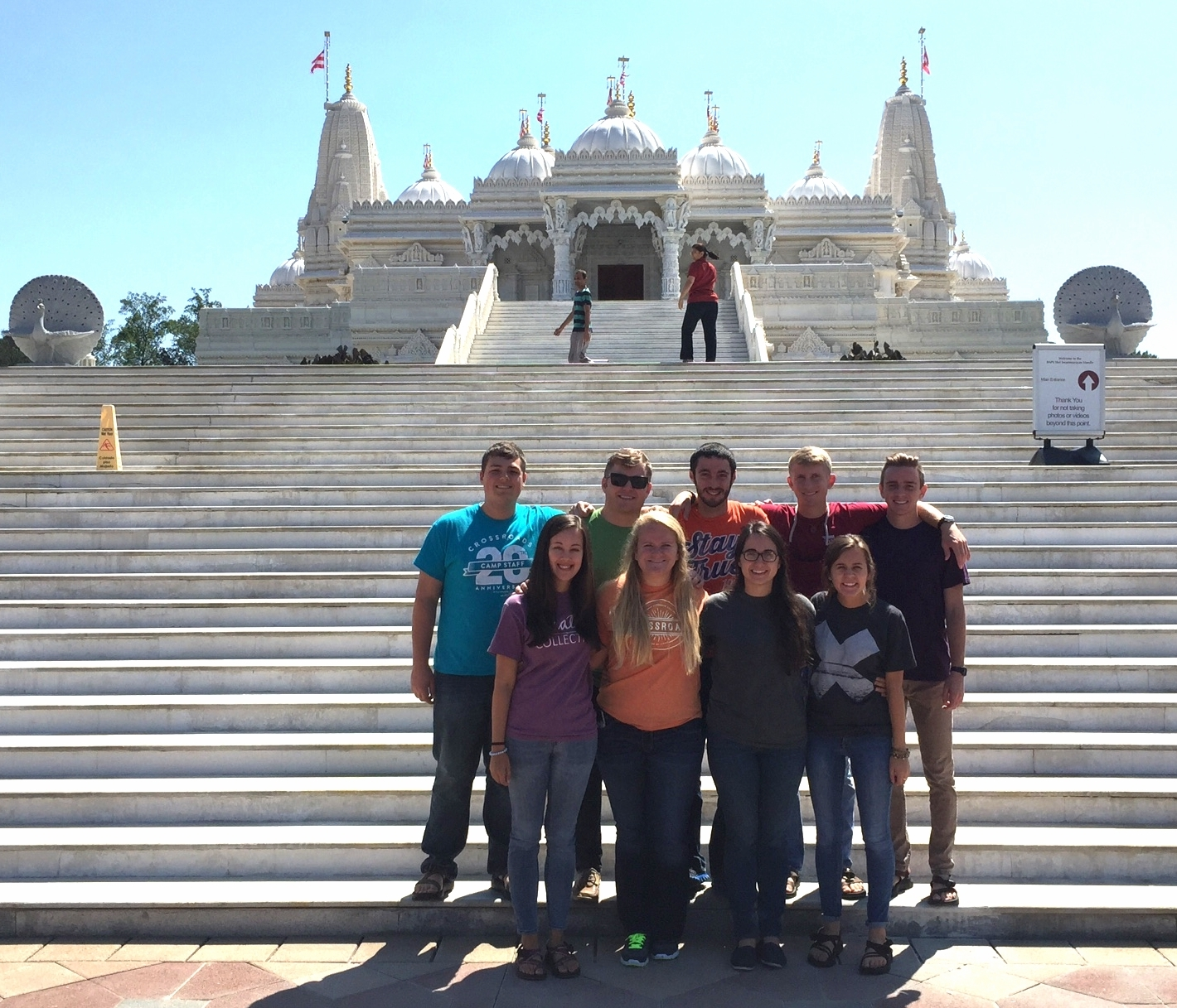 The largest Hindu temple outside of India.     CDHX, from left to right:   (top row) Tucker Ficklin, Zach Dickson, Josh Consalvo, Connor Moon, Zac Crook,   (bottom row) DeAnna McEntire, Lauren Ulmer, Jenny Gillespie, Bianca Dragul