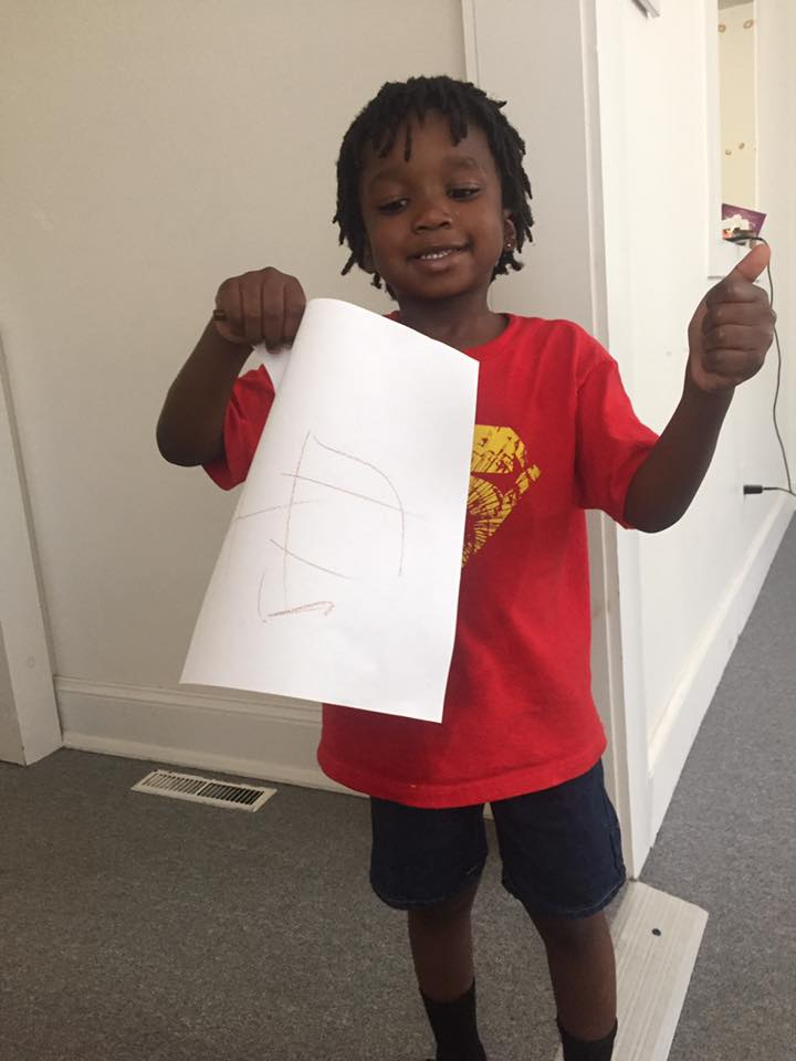 """Simeon (age 5) accepted Jesus into his heart. He said, """"I drew a picture of God because he's in my heart now."""""""