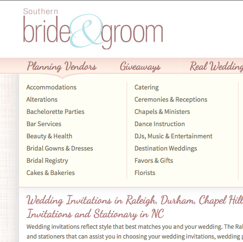 Our listing at   Southern Bride and Groom .