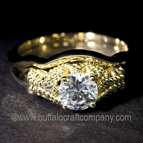 Hand Fabricated Antique Diamond Milgrain Engagement Ring-Wedding Band Set-Gold-Vintage