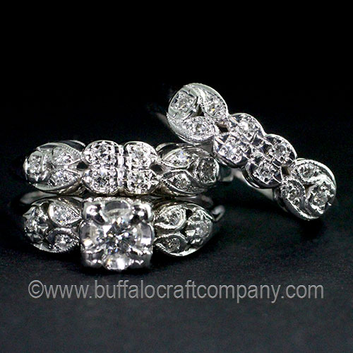 Hand Fabricated-14k White Gold-diamond-Anniversary Band-Vintage-1920's-Hand Engraved-Milgrain-Antique-Ring