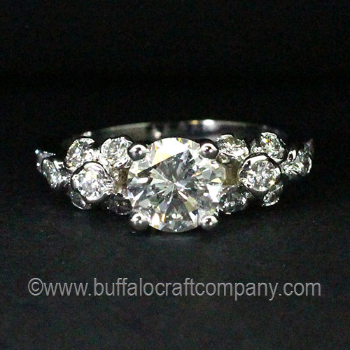 Hand Fabricated Nature Inspired Diamond Rosebud Cluster Engagement Ring-Gold-Vintage-Mill Grain-Organic-Twig-Branch