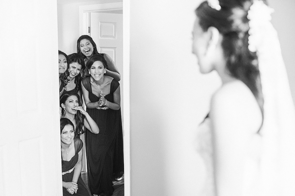 One of the first times I've had where the bridesmaids got a first look set up and after seeing this, I encourage all my brides to do it.