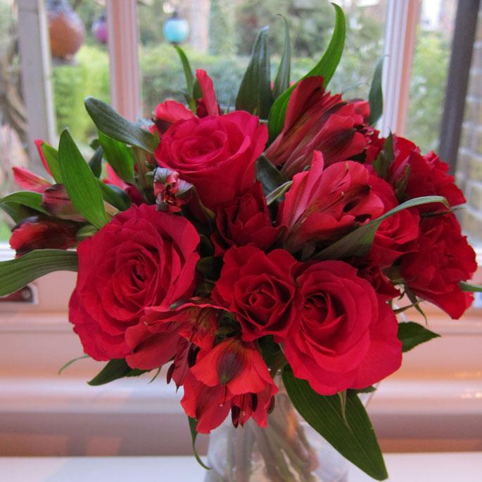 Valentine's posy - roses & alstromeria