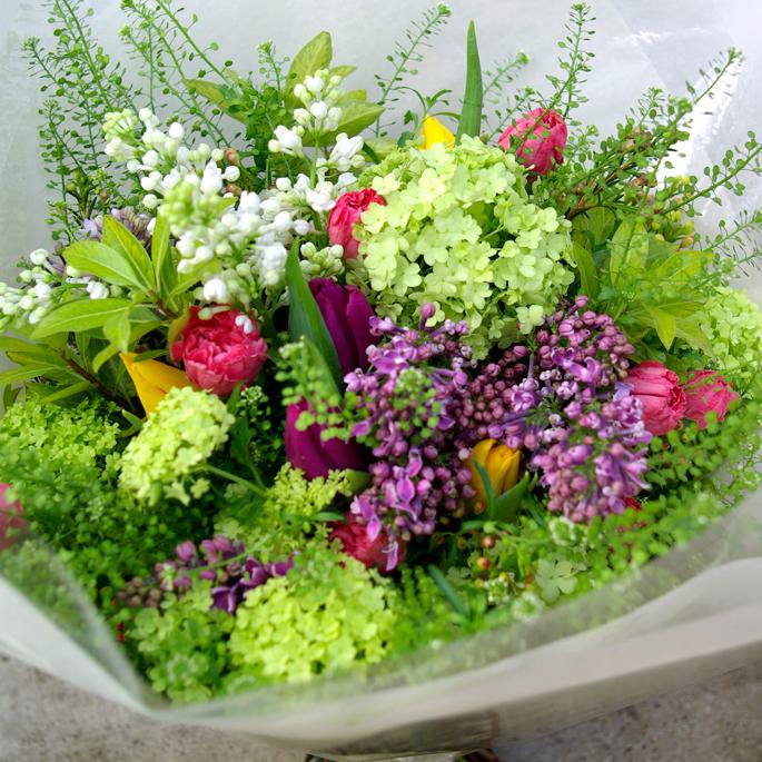 carnation, guelder rose, lilac, green bell, tulip, waxflower, pittosporum