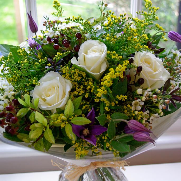 avalanche roses, clematis, waxflower, hypericum, solidago, salal, pittosporum, hebe